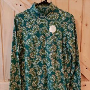 Kim Rogers Womens Blouse Green Paisley -(S)